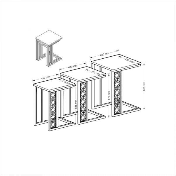 3 lü Metal Zigon Sehpa - Lazzo