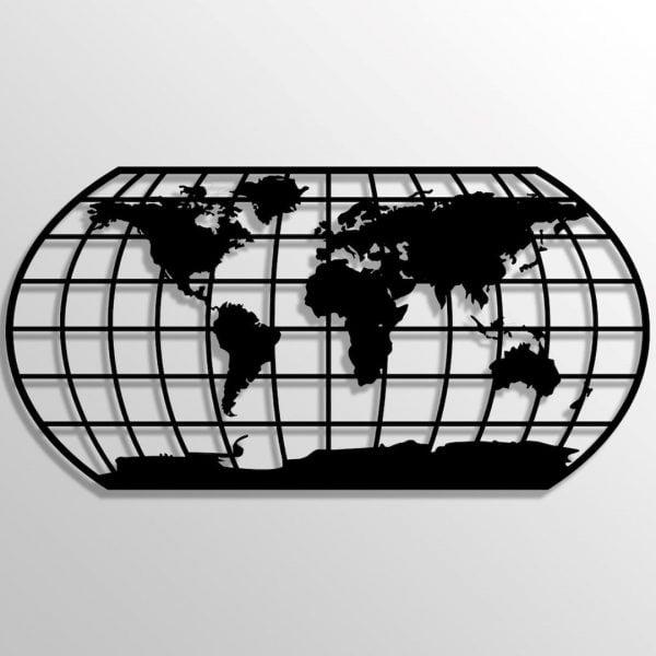 Dekoratif Duvar Metal Tablosu | Oval Dünya Haritası