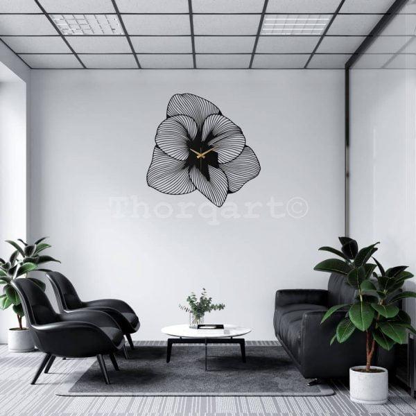 Dekoratif Metal Duvar Saati T140 - Flower Model Siyah