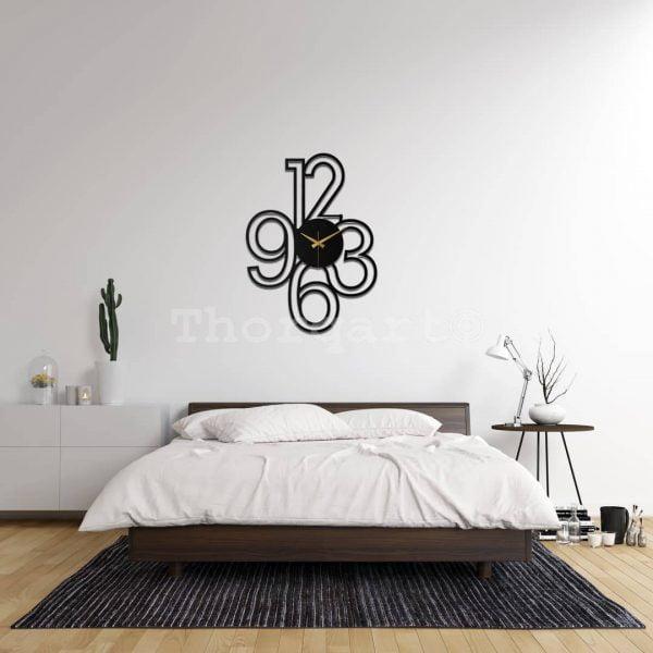 Dekoratif Metal Saat Tablo T144 - QUARTZ Model Siyah