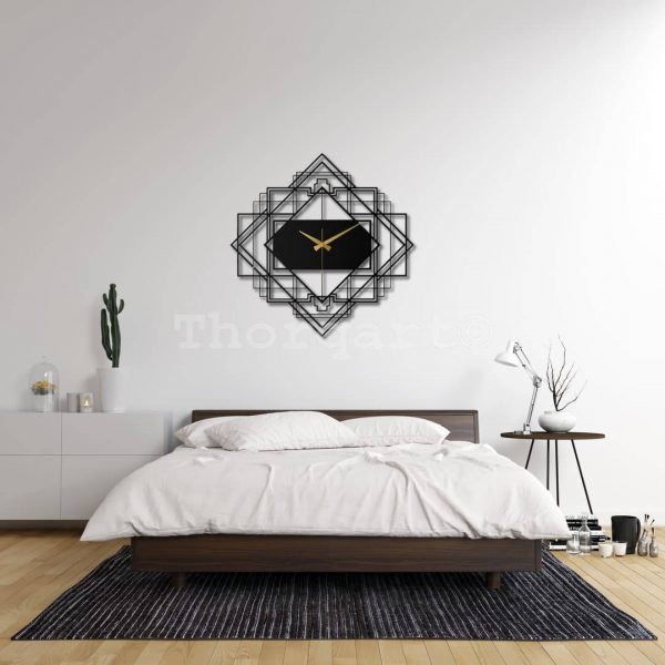 Dekoratif Metal Saat Tablo T145 GEO Mirror Model Siyah