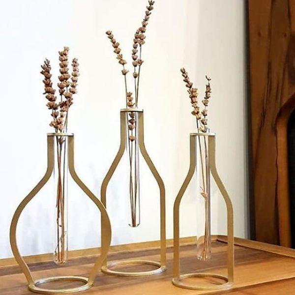 Dekoratif Metal Vintage Vazo Seti Altın