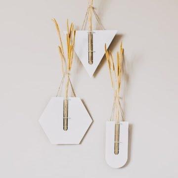 3 lü Set Dekoratif Metal Vazo GEO