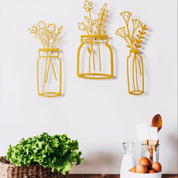 Bahar Çiçekleri Vazo Dekoratif Metal Duvar Tablosu - Gold