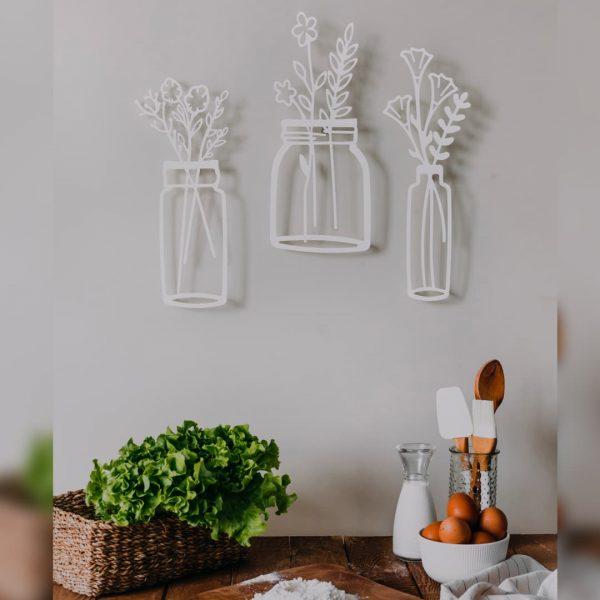 Bahar Çiçekleri Vazo Dekoratif Metal Duvar Tablosu - Beyaz