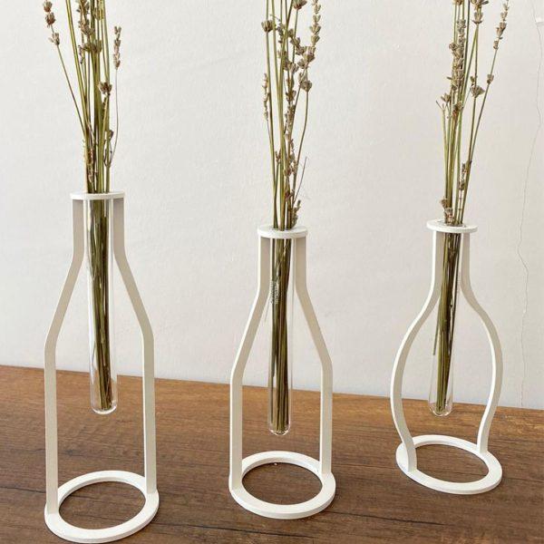 3 lü Set Dekoratif Metal Vintage Vazo - Beyaz