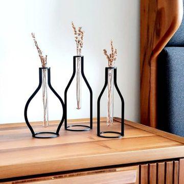 3 lü Set Dekoratif Metal Vintage Vazo