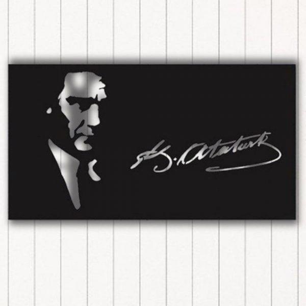 Atatürk İmzalı Metal Duvar Tablo 90x60cm