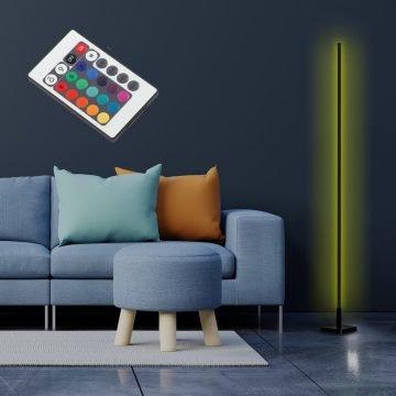 BELLA Dekoratif Minimalist Led Lambader Animasyonlu Kumandalı Çok Renkli Köşe Lambası - Siyah (1)