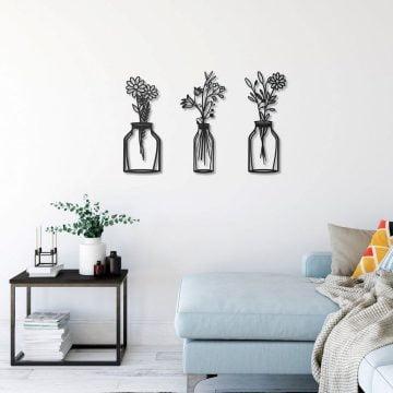 Bahar Çiçekleri 3 lü Vazo Dekoratif Metal Duvar Tablosu
