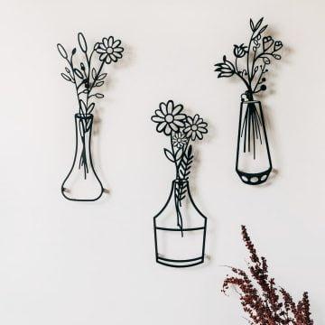 Bahar Çiçekleri 3 lü Vazo (Model 3) - Siyah