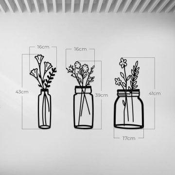 Bahar Çiçekleri Vazo Dekoratif Metal Duvar Tablosu
