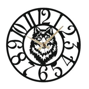 Bozkurt Motifli Latin Metal Duvar Saati T161
