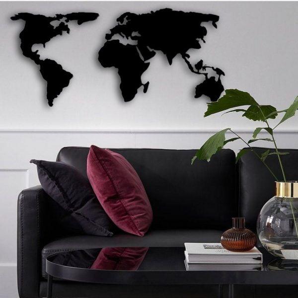 Dekoratif Duvar Metal Tablosu   Dünya Haritası