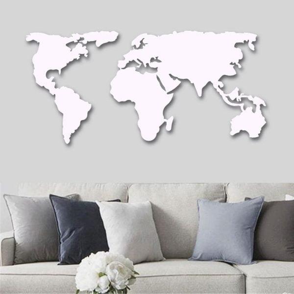 Dekoratif Duvar Metal Tablosu Dünya Haritası - Beyaz