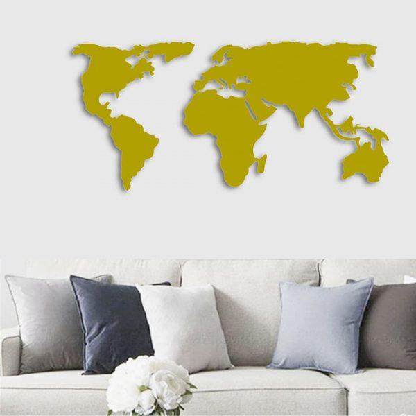 Dekoratif Duvar Metal Tablosu Dünya Haritası Gold T-212 (2)