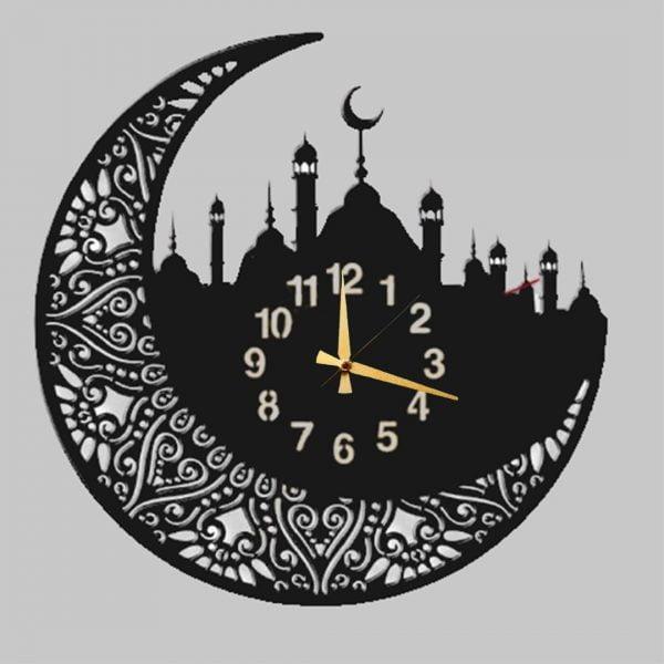 Dekoratif İslami Camii Metal Duvar Saati T155
