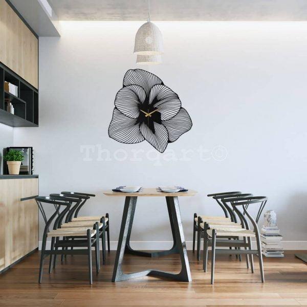 Dekoratif Metal Duvar Saati - Flower