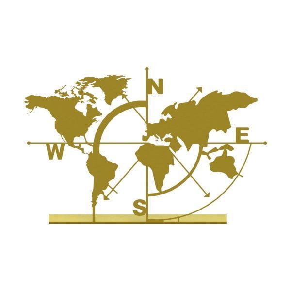 Dekoratif Metal Masa Üstü Biblo Dünya Haritası Gold C-T853 (1)