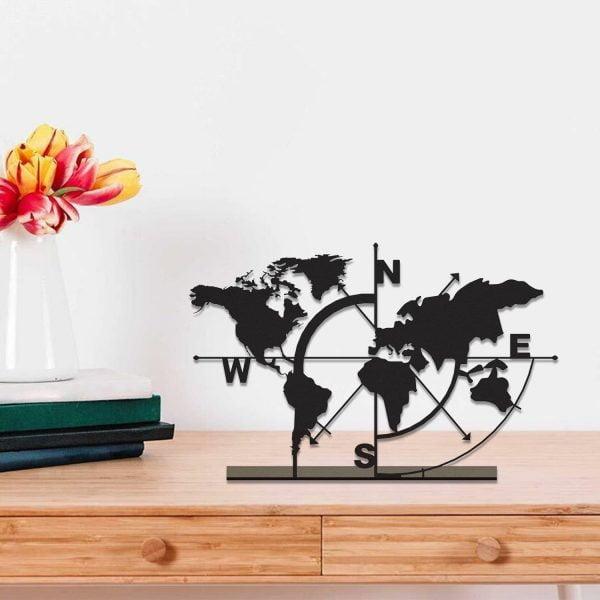 Dekoratif Metal Masa Üstü Biblo Dünya Haritası Siyah C-T853 (1)