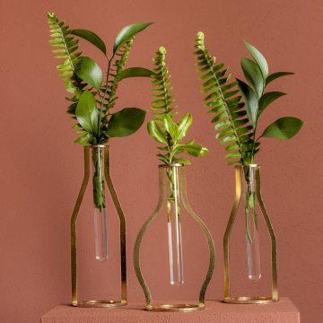 Dekoratif Metal Vintage Vazo Seti - Altın Kaplama