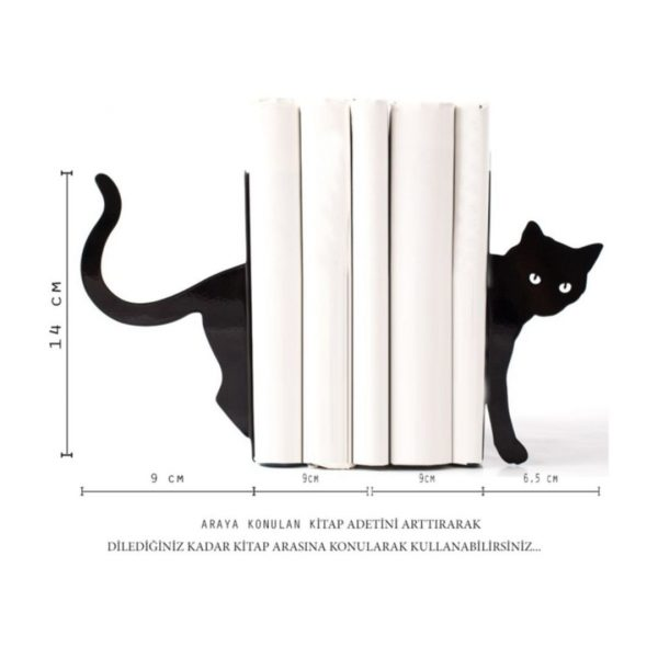 Kara Kedi Figürlü Dekoratif Metal Kitap Tutucu