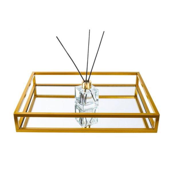 Milas Aynalı Metal Tepsi 30cm x 44cm - Gold