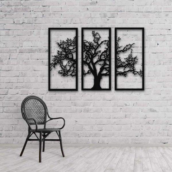 Söğüt Ağacı 3lü Metal Tablo