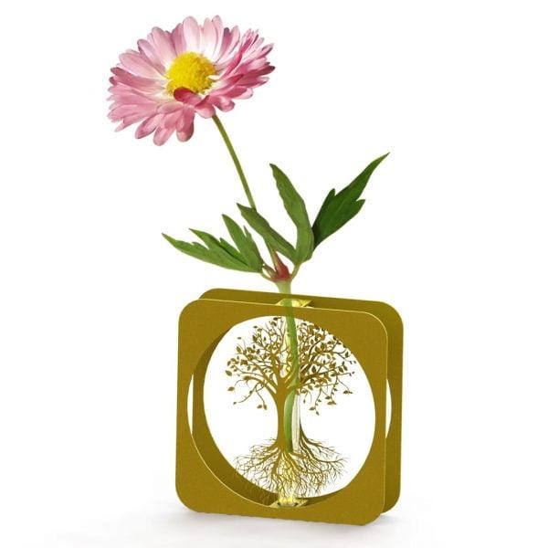 Yaşam Ağacı Metal Vazo - GOLD