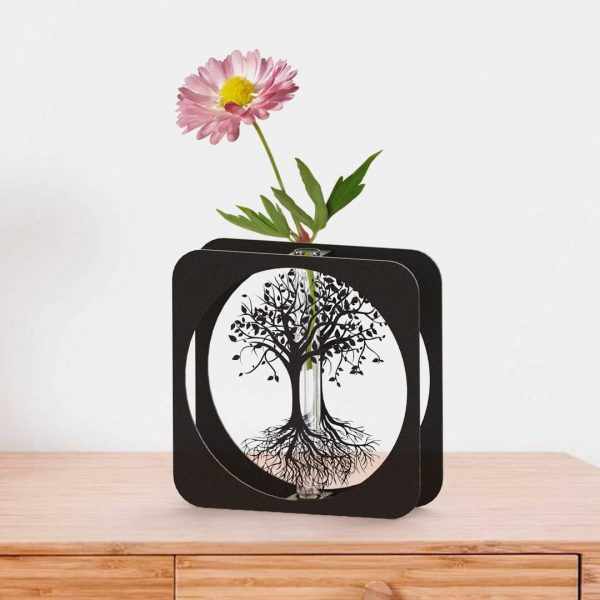Yaşam Ağacı Metal Vazo - SİYAH