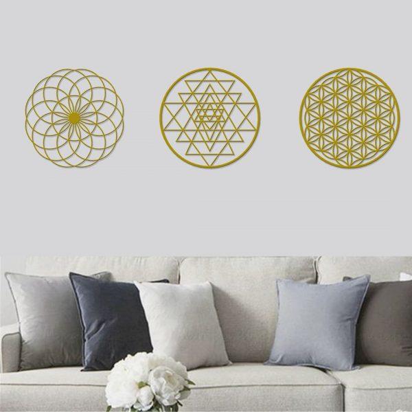 3 lü Set Dekoratif Yaşam Çiçeği Sri Yantra Metal Tablo - Gold