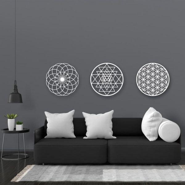 3 lü Set Dekoratif Yaşam Çiçeği Sri Yantra Metal Tablo - Beyaz